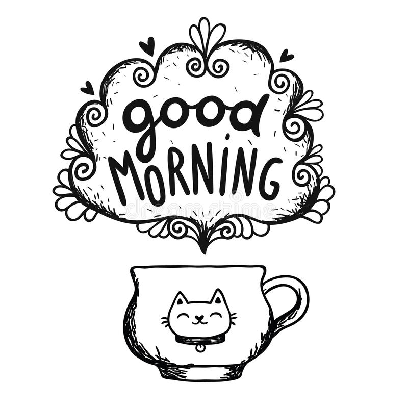 Good morning sketch with cup of coffee and cat stock illustration