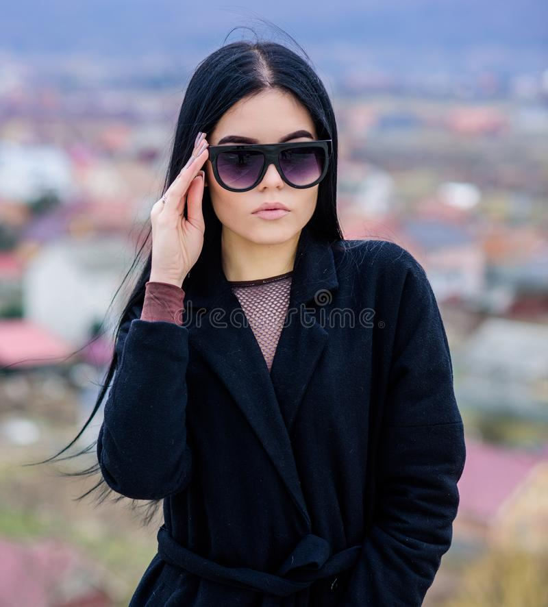 Good morning. Sky. sensual girl in terry bathrobe and sunglasses. relax outdoor. Vacation and weekend. sexy woman with. Fit body. summer fashion beauty. Spa royalty free stock images