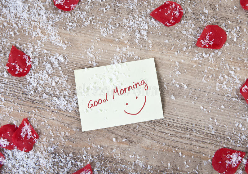 Good morning snow and roses flowers stock images
