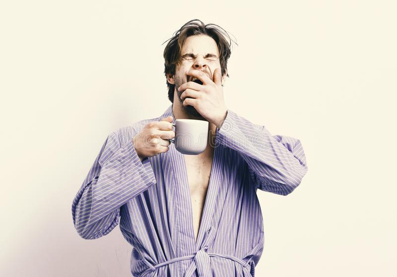Good morning. Sportsman with sleepy face stands in bathrobe with mug. Breakfast concept. Man with beard in blue dressing gown on grey background. Guy in bath royalty free stock images