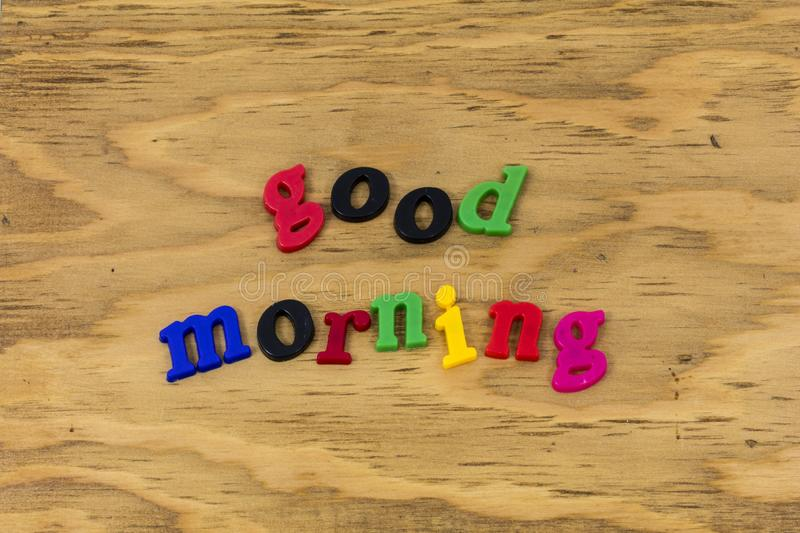Good morning sunshine greeting color happy plastic stock images
