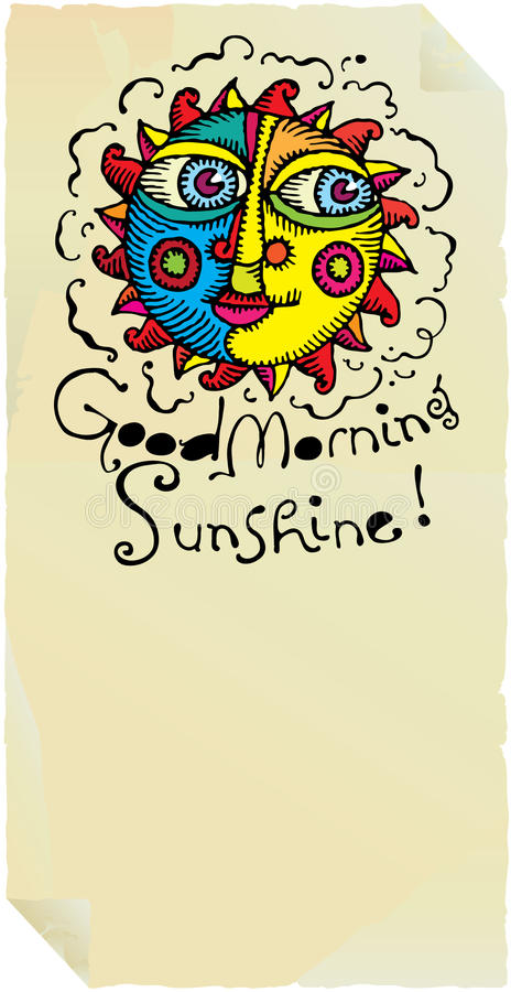Download Good Morning Sunshine Page With Vivid Sun Stock Vector - Illustration: 12646928