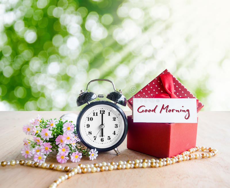 Good morning tag and alarm clock. royalty free stock images