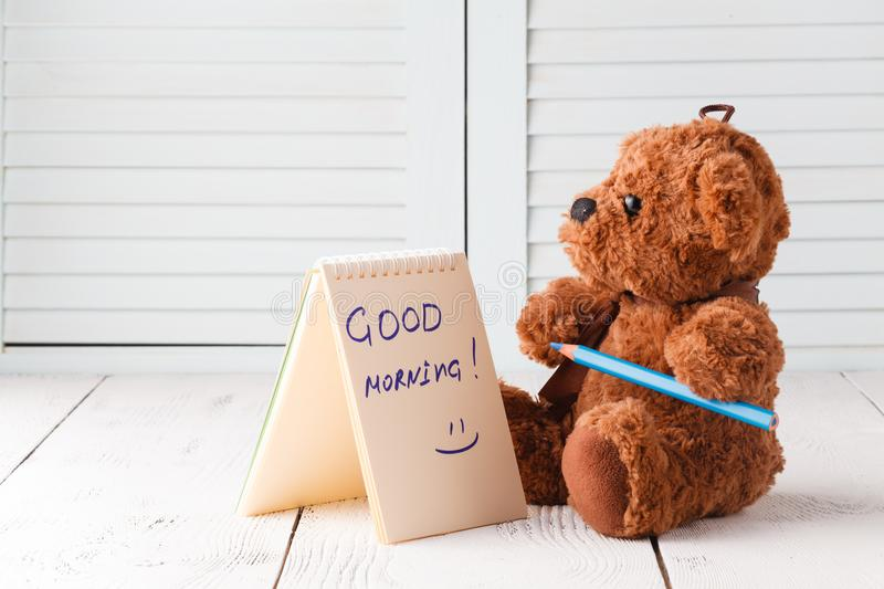 Good morning with teddy bear stock images