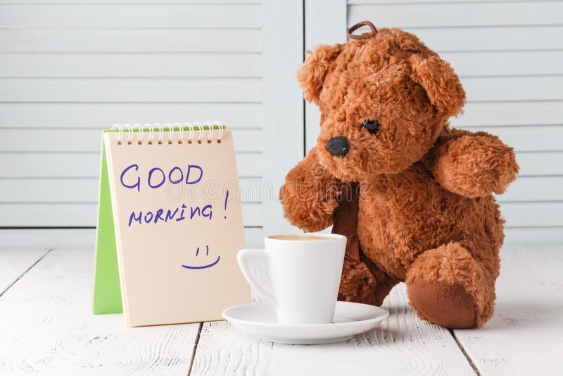 Good morning with teddy bear stock photo