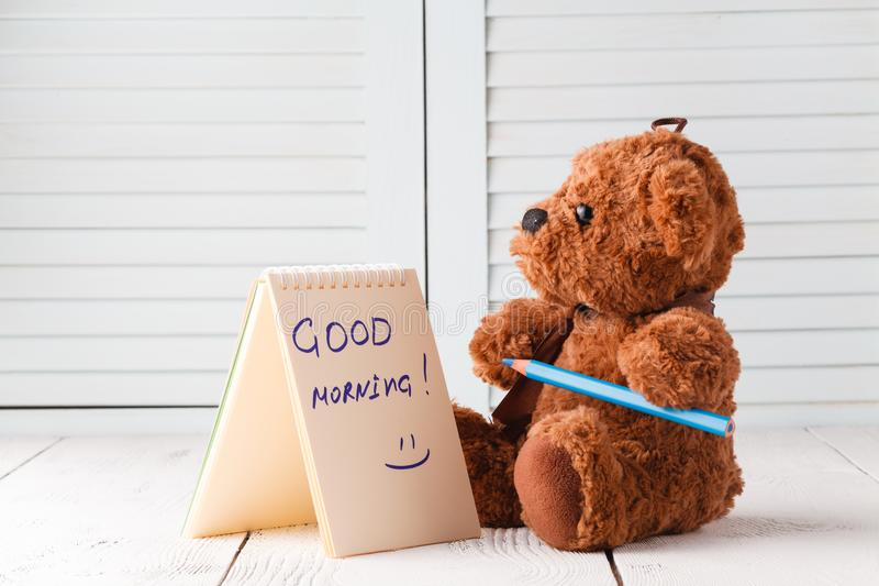 Good morning with teddy bear stock photos