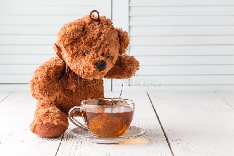 Good morning with teddy bear stock photography