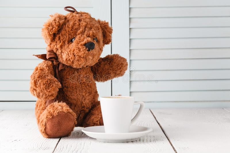 Good morning with teddy bear stock image