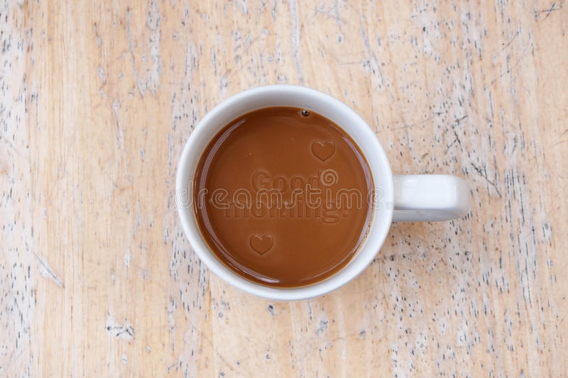 Good morning - text on coffee stock images