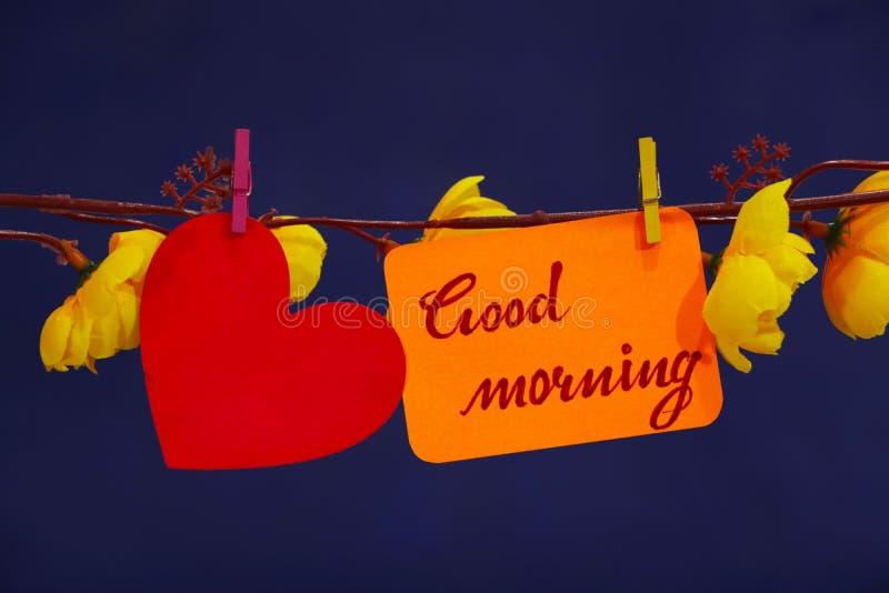 Good Morning text, heart sign. stock photo