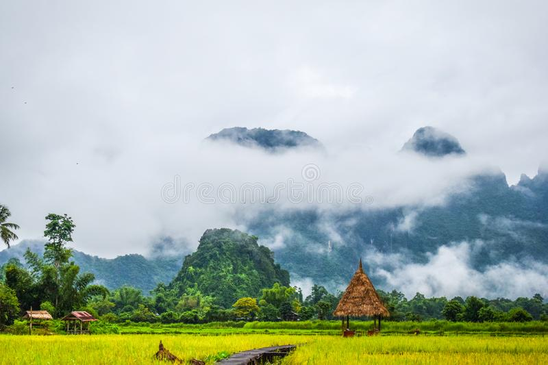 Good Morning at Vang Vieng, Laos. Nature View : Good Morning at Vieng Tara Villa, Vang Vieng, Laos : July 8, 2018 royalty free stock image