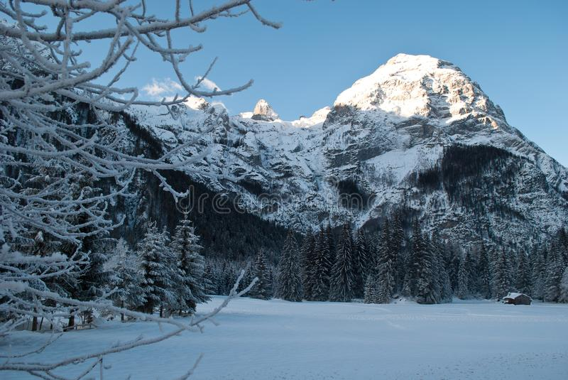 Good morning very cold on the mountains covered by fresh snow stock images