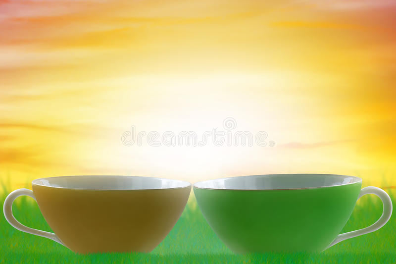 Good Morning and Wake Up Concept. Cup of coffee stock images