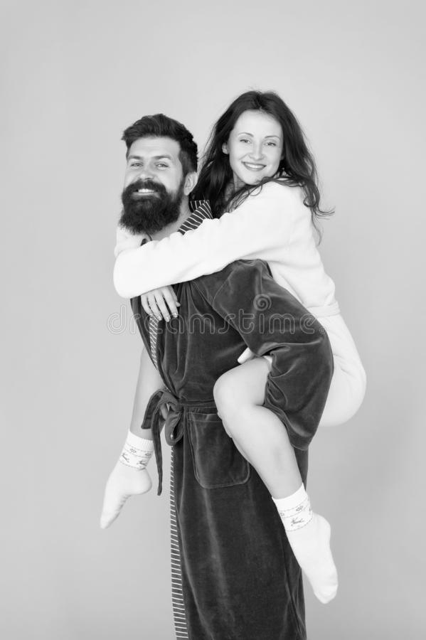 Good morning. Wake up in morning. Couple in love. Family. Love and romance. Happy family in morning. Bearded man and royalty free stock images