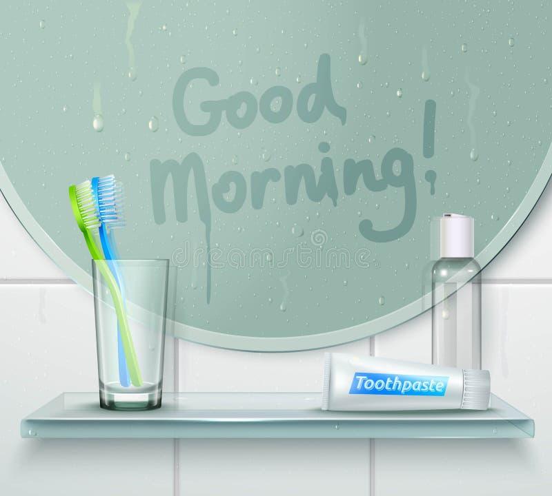 Good Morning Wash Composition vector illustration