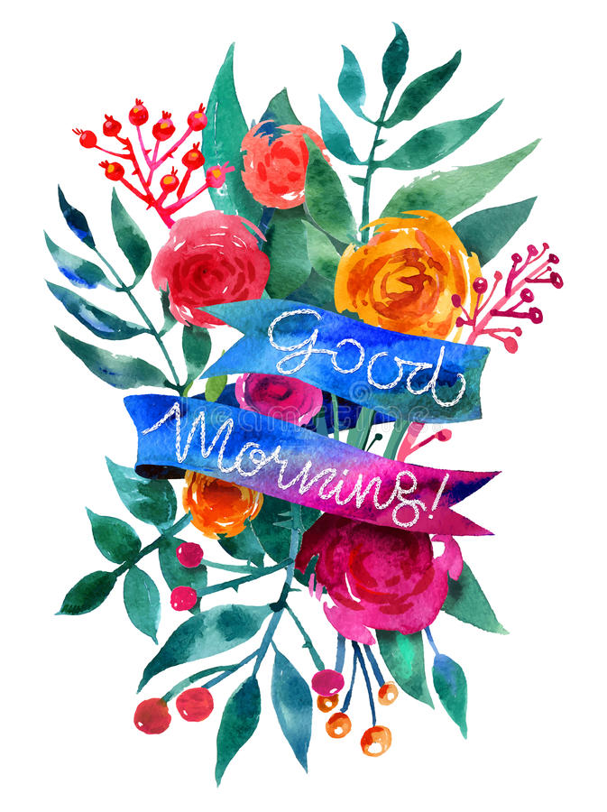Download Good Morning Watercolor Flower Card Beautiful Floral Greeting C Stock Vector