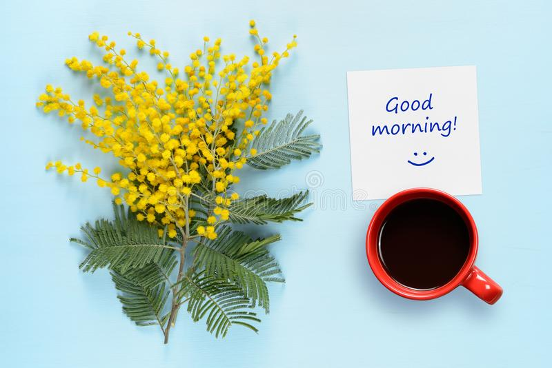 Good morning wishes, coffee cup and flowers of mimosa. On blue table stock photos