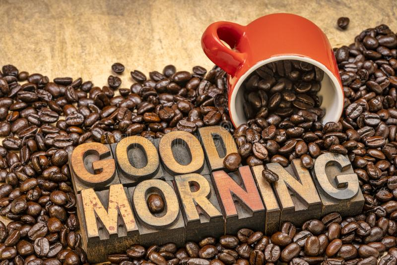 Good Morning - wood type text with coffee beans royalty free stock photos