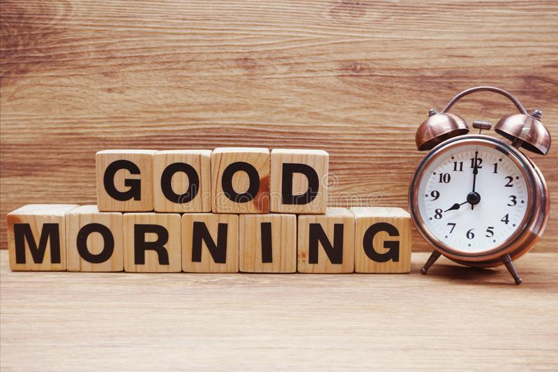 Good morning wooden letter alphabet on wooden background. Good morning wooden letter alphabet with space copy on wooden background royalty free stock photos