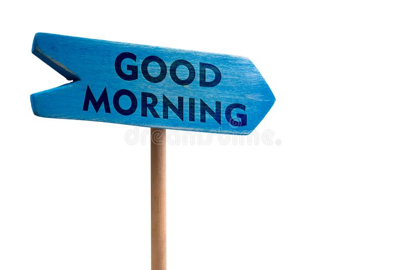 Good morning wooden sign board arrow stock images