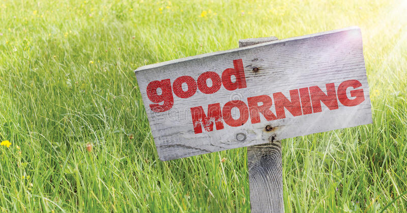 Good Morning. On a wooden sign on a meadow whit sun rays royalty free stock photography
