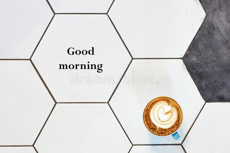 Good morning word on a cup. Of hot coffee royalty free stock images