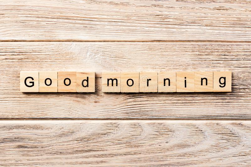 Good morning word written on wood block. good morning text on table, concept.  royalty free stock photos