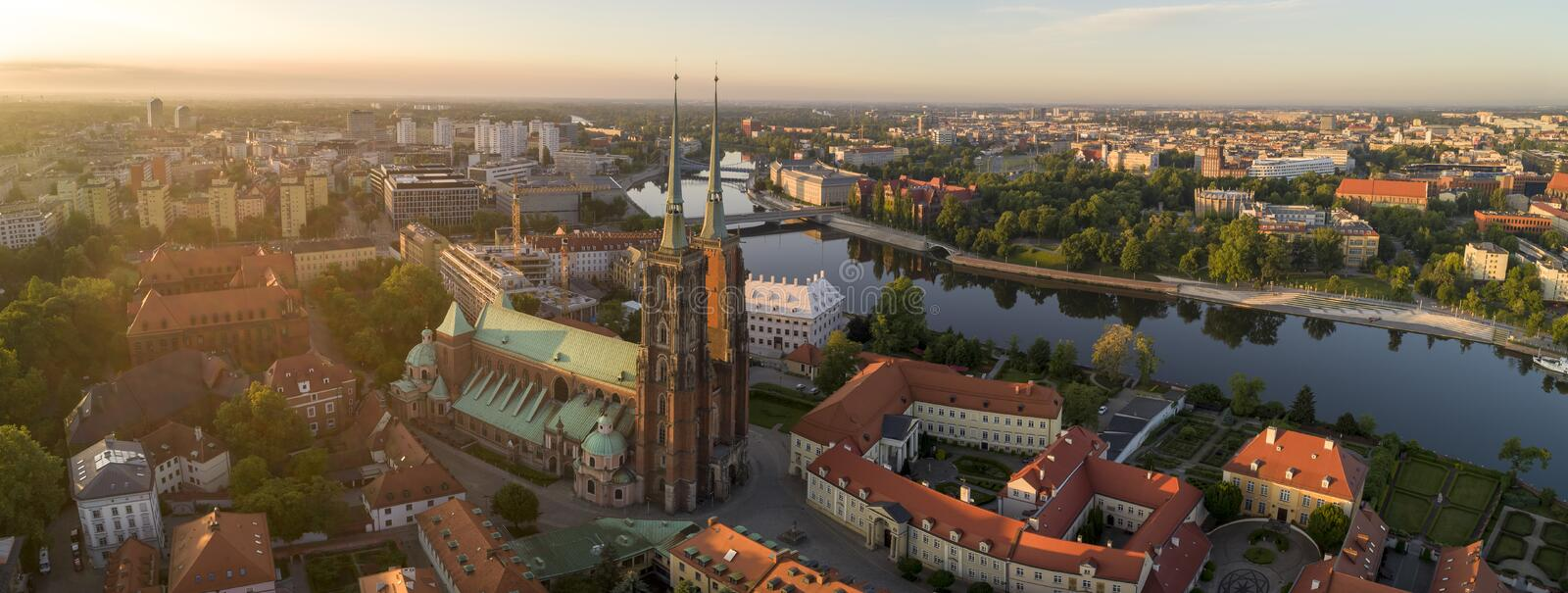 Good morning Wroclaw! Aerial view on Ostrow Tumski, river and bridges. Wroclaw, Poland stock images