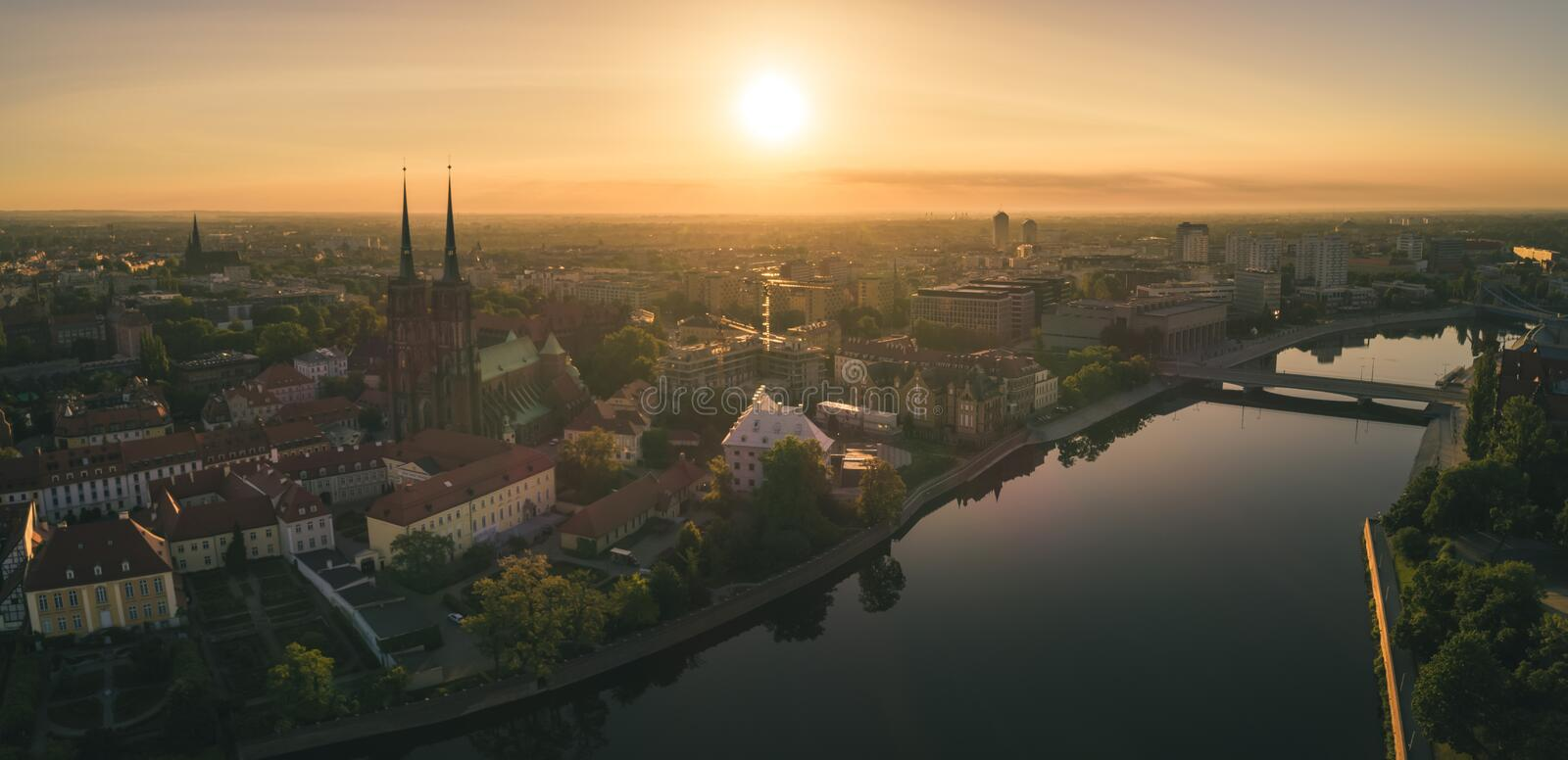Good morning Wroclaw! Morning aerial view of the waking Ostrów Tumski. Wroclaw, Poland stock photography