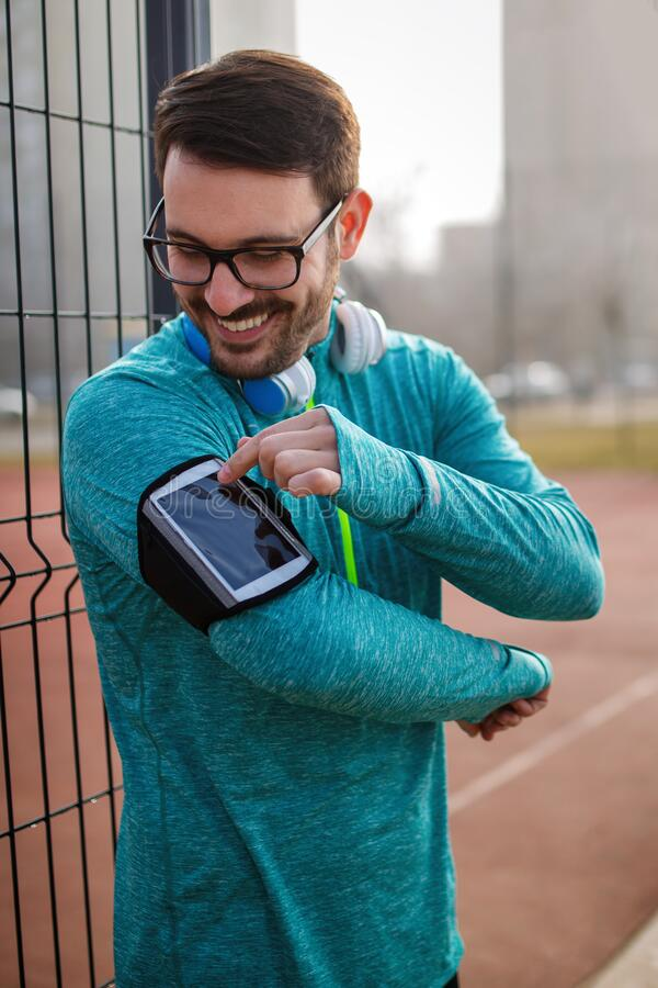 Free Good Music Is Motivation For Running. Sport Health Exercise Concept Royalty Free Stock Images - 212135759