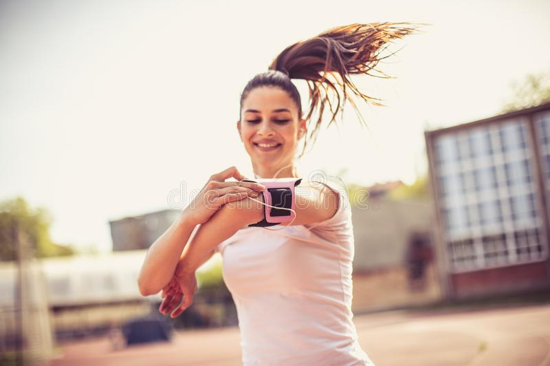 Good music and nice day is all you need for run. stock photography