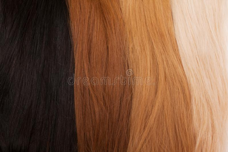 Natural hair for extensions. Different colors from black to blonde. Good natural hair, good beauty concept royalty free stock image