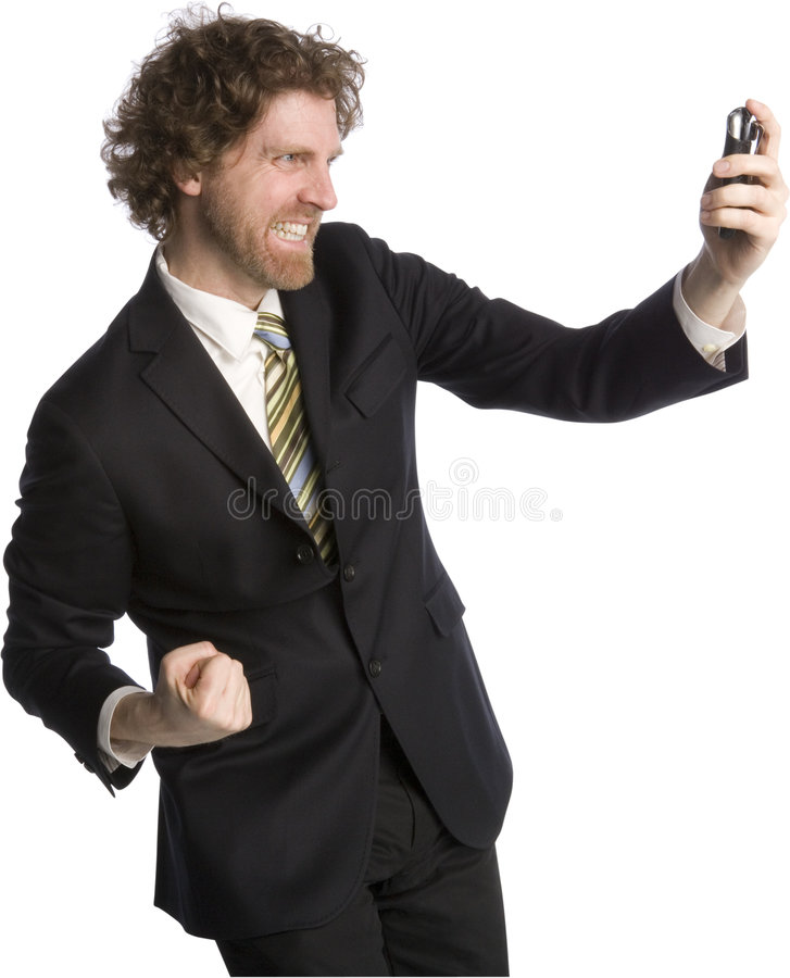 Good News. Businessman receives some good news on his cell phone royalty free stock images