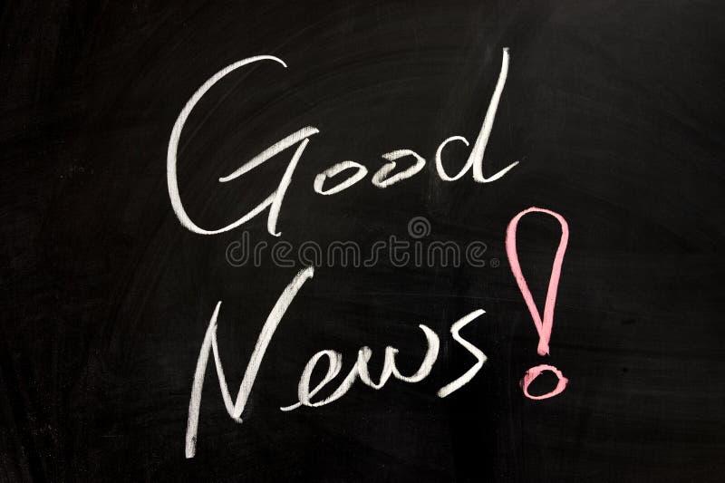Good news. Chalk drawing - Good news written on chalkboard stock photos