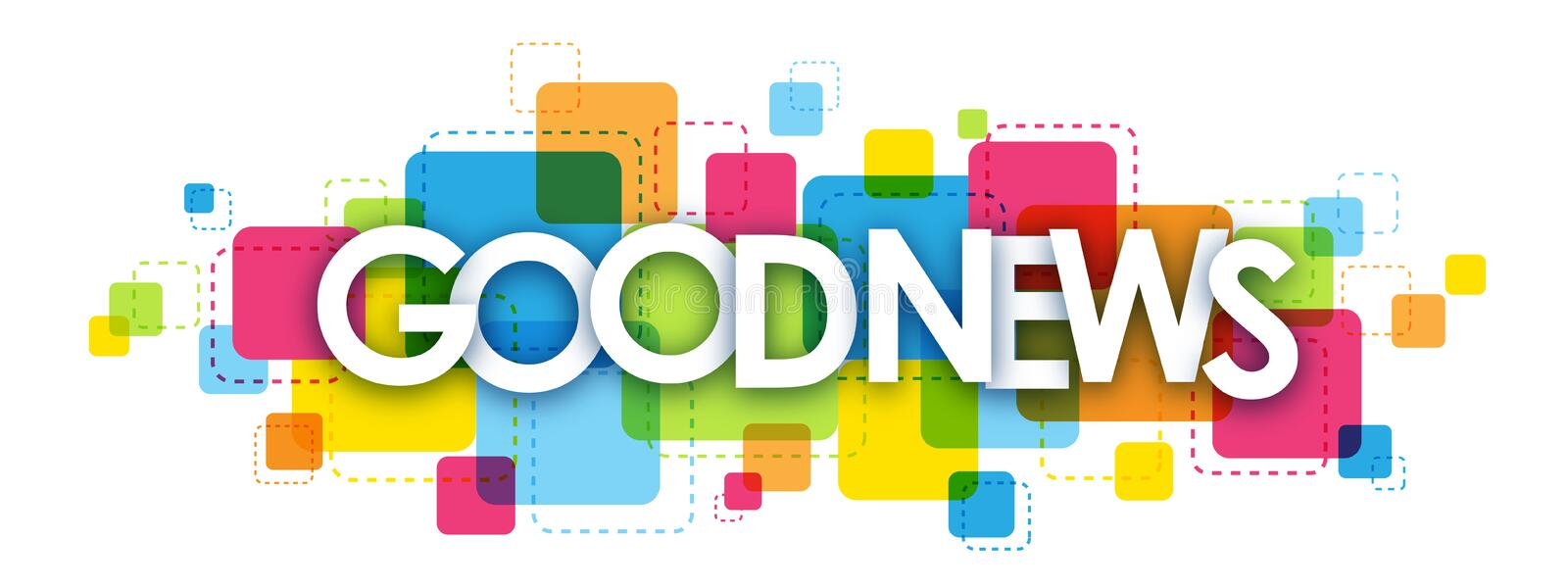 GOOD NEWS letters banner stock photos