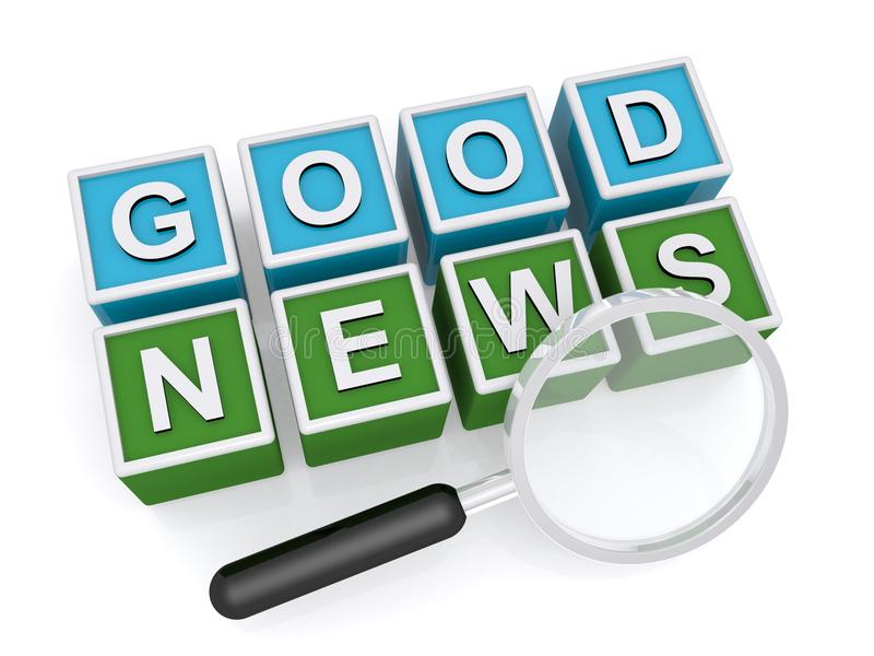 Good news. In white capital letters on blue and green blocks with magnifying glass on white vector illustration