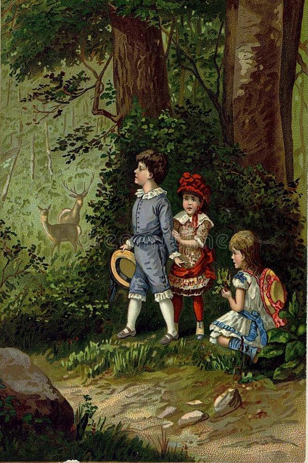 Retro picture of children playing. royalty free illustration