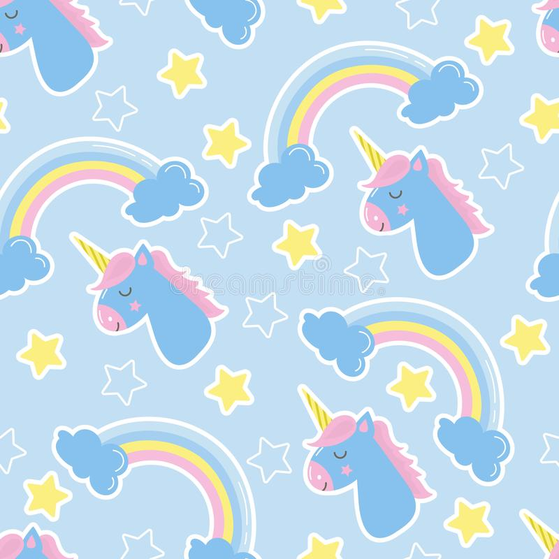 Good night background. Seamless pattern with unicorns royalty free illustration
