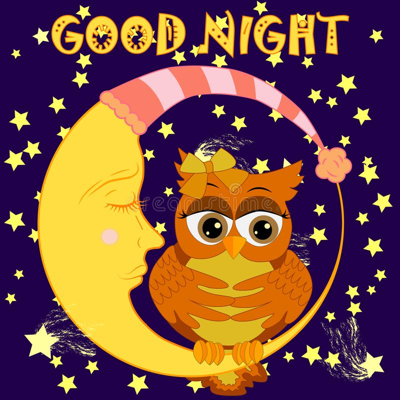 Good night. Card with cute sleeping owl. illustration. Good night card with sleeping moon and cute owl. Cute cartoon owl coquettish sitting dormant on the royalty free illustration
