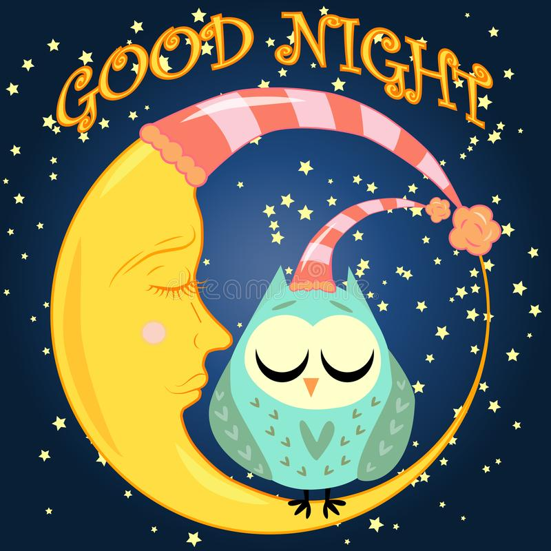 Good night card with sleeping moon and cute owl. illustration. Good night. Postcard with a dormant crescent, a cute cartoon owl and text vector illustration