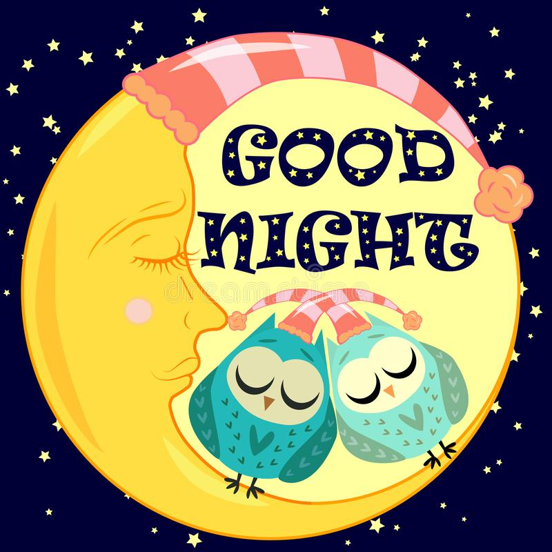 Good night card with sleeping moon and cute owl. illustration. Good night. Postcard with a dormant crescent, a cute cartoon owl and text stock illustration