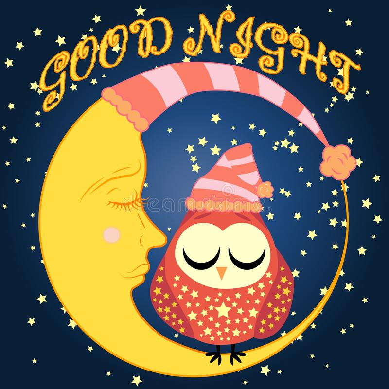 Good night card with sleeping moon and cute owl. illustration. Good night. Postcard with a dormant crescent, a cute cartoon owl and text royalty free stock photo