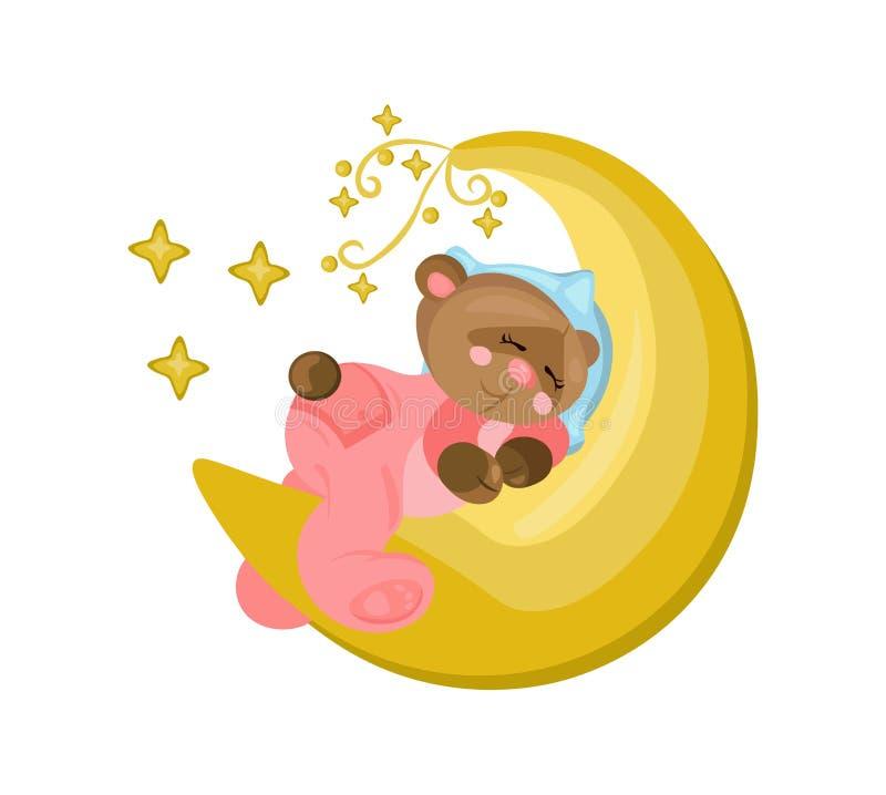 Good night card with teddy bear sleeping on the moon Vector royalty free illustration
