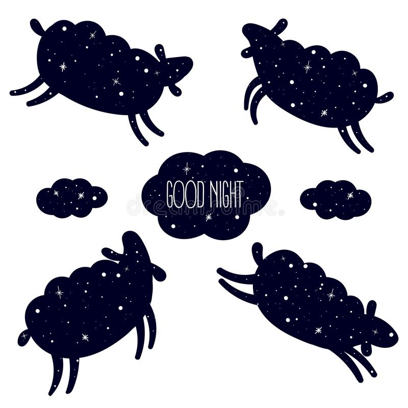 Free Good Night Card With Jumping Sheeps. Count, Sleep Royalty Free Stock Photo - 109780495