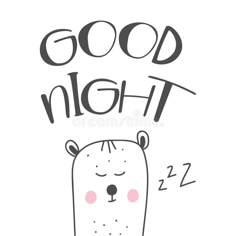Good night hand drawn lettering cartoon illustration with cute white sleeping bear. Good night hand drawn lettering cartoon illustration with cute white stock illustration