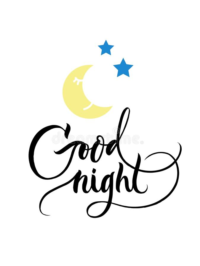 Good night - hand drawn poster with brush lettering and cartoon iluustration for kids print, card and babies cover. stock photos