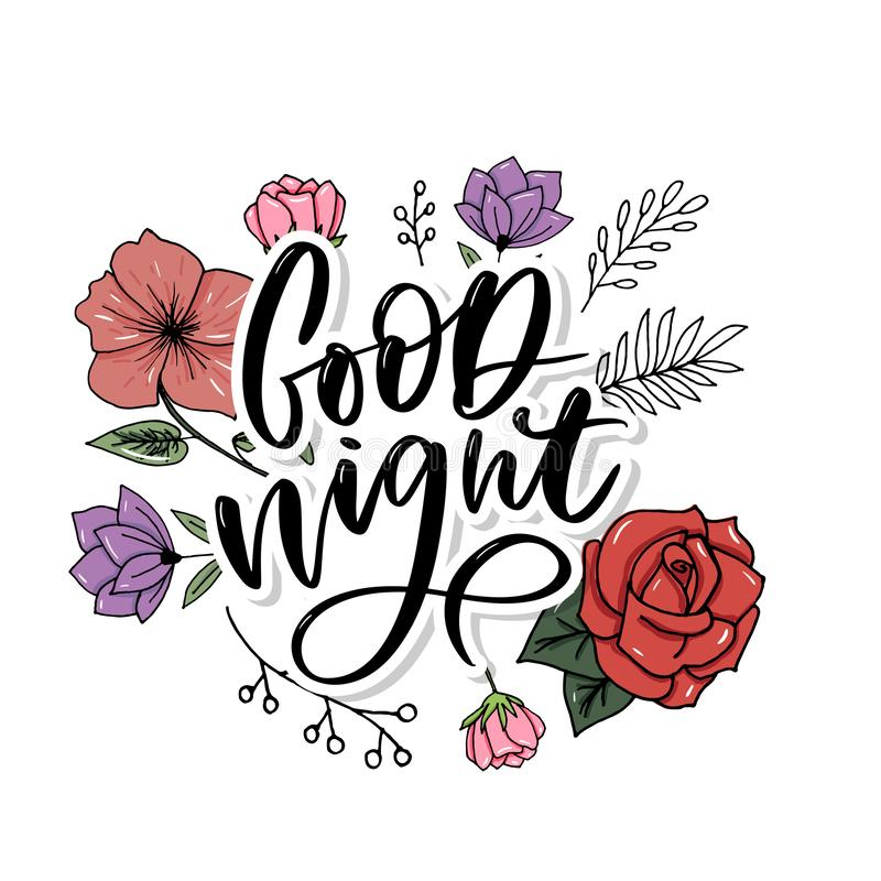 Good Night. Hand drawn typography poster. T shirt hand lettered calligraphic design. Inspirational vector typography slogan. Good Night. Hand drawn typography stock images