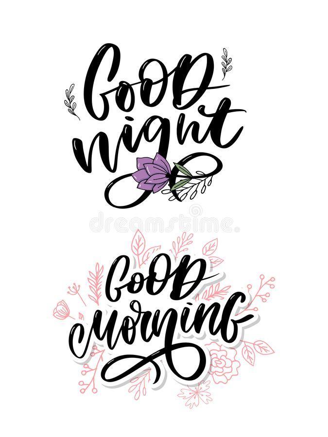 Good Night. Hand drawn typography poster. T shirt hand lettered calligraphic design. Inspirational vector typography slogan. Good Night. Hand drawn typography stock photos