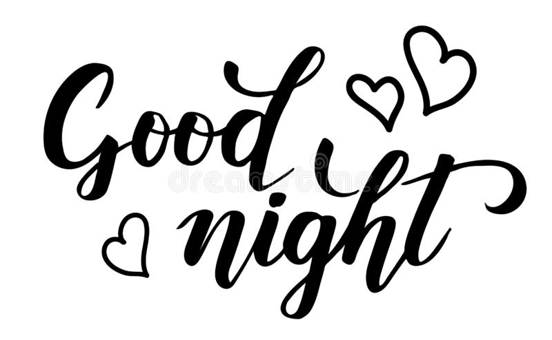 Good night brush calligraphy. Good night modern brush calligraphy isotated on a white background. Vector illustration royalty free illustration