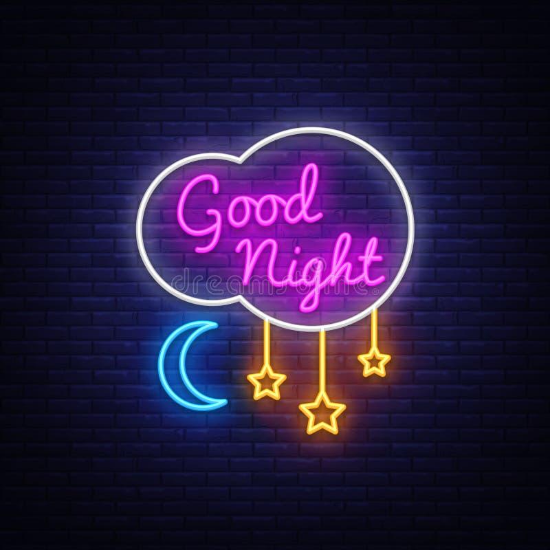 Good Night Neon Sign Vector. Good Night neon text, design template, modern trend design, night neon signboard, night vector illustration